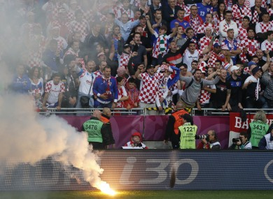 Croatian fans in Poznan during the Italy game.
