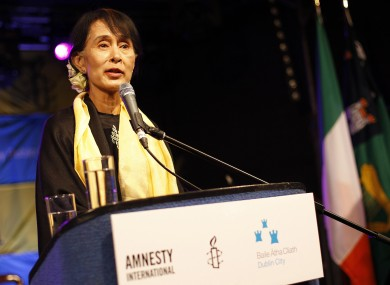 Aung San Suu Kyi after receiving the Freedom of the City of Dublin on Monday