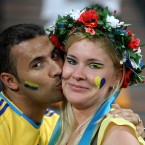 Ukraine fans in the stands (PA)