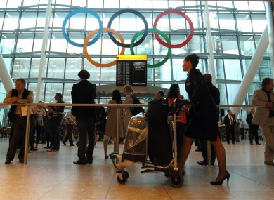 Giant Olympic Rings are unveiled at Terminal 5 of Heathrow Airport yesterday.
