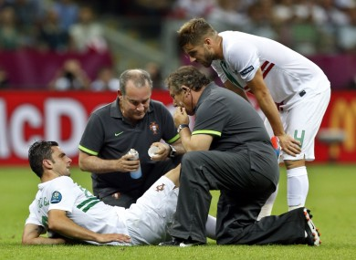 Postiga getting treatment last night. 