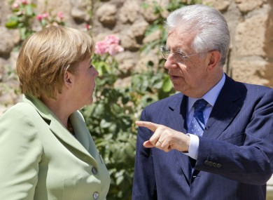 Mario Monti (r) hosted Angela Merkel (l), Francois Hollande and Mariano Rajoy for four-day talks in Rome this afternoon.