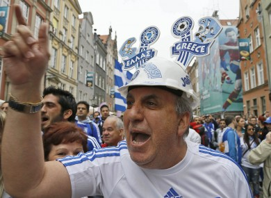 Greek fans on the streets of Gdansk today.