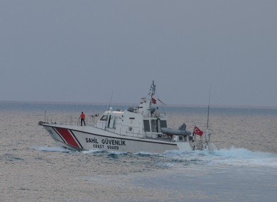 Turkish coast guard searches for the Turkish warplane which was downed by Syria on Friday off Samandagi in Hatay