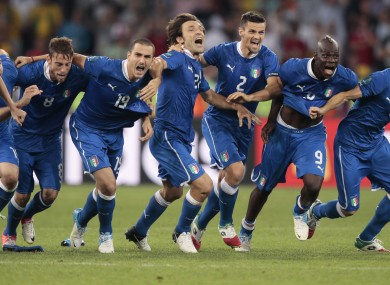 The Italian players after the shootout.