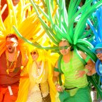 Revellers with balloons create a human rainbow during San Francisco's 42nd annual Gay Pride Parade on Sunday. (AP Photo/Noah Berger)