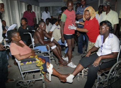 Some of those injured in last night's attack receiving medical assistance.