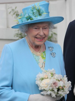 Queen Elizabeth II in Oxfordshire yesterday.