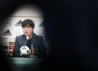 Germany head coach Joachim Loew addresses the media during a press conference today.