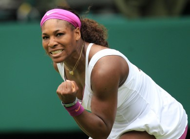 USA's Serena Williams celebrates winning a point against Hungary's Melinda Czink.