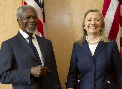 Kofi Annan with Hillary Clinton at the Action Group on Syria meeting in the UN HQ in Geneva today