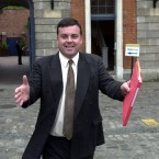 Leaving the Moriarty Tribunal in Dublin Castle, June 2000