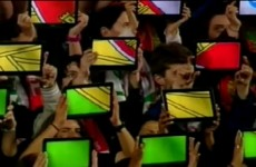 VIDEO: Portugal fans create national flag using tablets