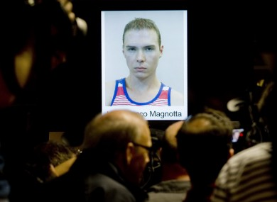 The photograph of Luka Rocco Magnotta,is shown during a news conference in Montreal yesterday