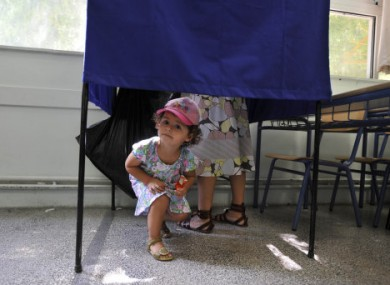 A polling booth in Greece earlier today. 