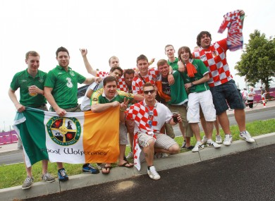 Irish and Croatian fans in Poznan on Sunday.