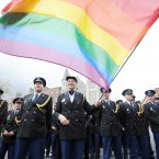 Dutch transgender policewoman Willemijn Ahlers (with flag) leads members of the European Gay Police Association march in the parade (Photo: Laura Hutton/Photocall Ireland)