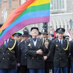 Dutch transgender policewoman Willemijn Ahlers (with flag) leads members of the European Gay Police Association march (Photo: Laura Hutton/Photocall Ireland)