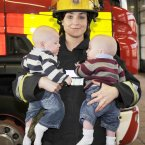 This was a heartwarming tale: firefighters from Phibsboro fire station delivered babies Ben and Jonathan Gillick in 2010 when they were born prematurely to mum Miriam. Pictured is firefighter Rachel Lee with the boys. (Pic: Sasko Lazarov/Photocall Ireland)