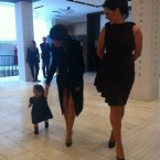 Her daughter Harper strolls around Brown Thomas. 