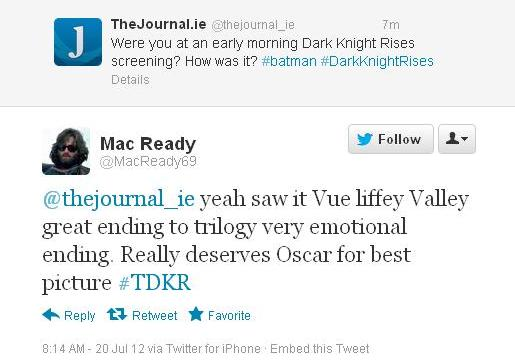 Dark Knight Rises Tweet