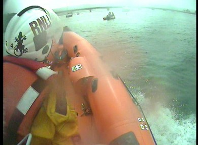 The view from the lifeboat as it went to rescue the swimmer