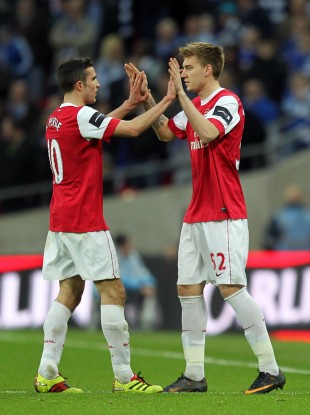 Van Persie and Bendtner: Coming to a European giant near you. Or, Celta Vigo.