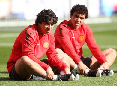 Manchester United's Fabio Da Silva (left) and Rafael Da Silva in training.