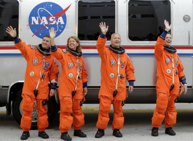 The space shuttle Atlantis astronauts left to right, mission specialists Rex Walheim, Sandy Magnus, pilot Doug Hurley and commander Chris Ferguson.