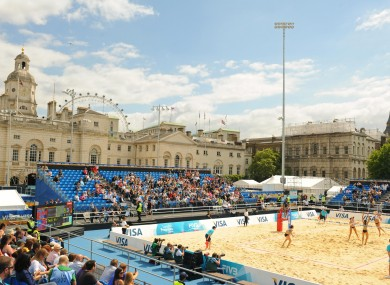 General view of the arena during the preliminary phase of the FIVB Beach Volleyball International at Horse Guards Parade.