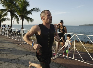 Lance Armstrong competes in the Ironman Panama 70.3. triathlon in Panama City. 