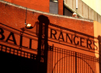 Sun setting on Ibrox.