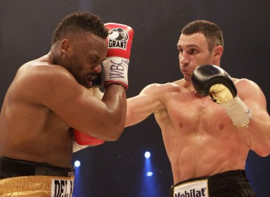 Vitali Klitschko connects with Dereck chisora during their WBC bout in February.
