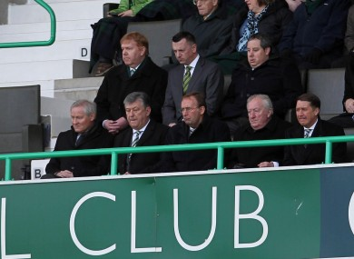 Celtic's chairman, Ian Bankier and chief executive Peter Lawell (second left) during the Clydesdale Bank Scottish Premier League match at Easter Road, Edinburgh.