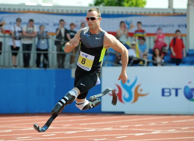 Pistorius competing in Manchester last May.