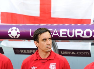 England coach Gary Neville during Euro 2012.