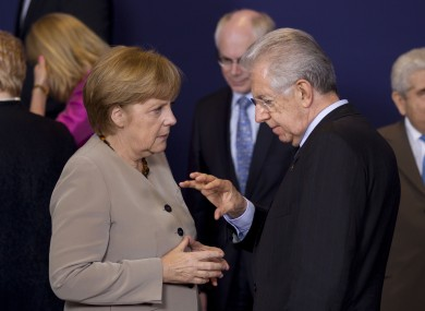 Merkel speaking to Monti in Brussels last week