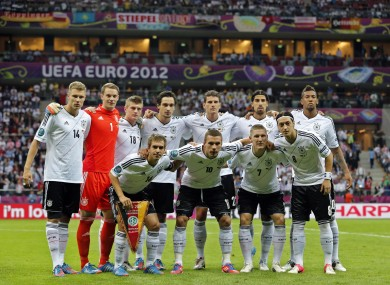 The Germany team that lost to Italy in Warsaw at Euro 2012.