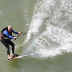 Richard Branson, 61, kitesurfing the English Channel from Kent to northern France. (Stefan Rousseau/PA Wire)