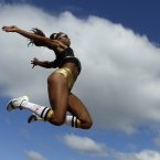 Brianna Glenn competing in the woman's long jump at the US Olympic Track and Field trials. (AP Photo/Charlie Riedel)