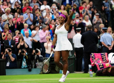 Serena Williams celebrates her victory. 
