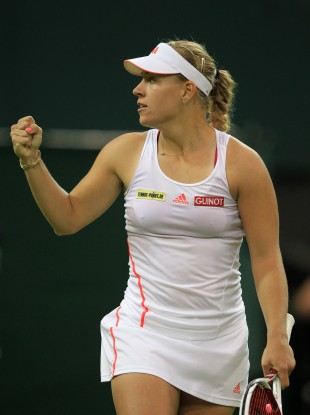 Germany's Angelique Kerber celebrates a point against Sabine Lisicki.