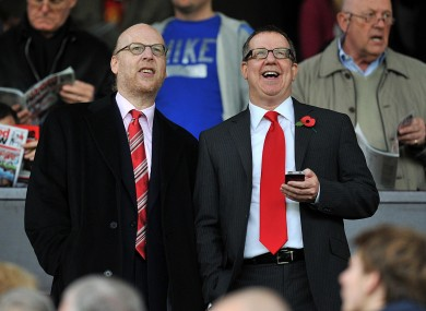 Manchester United directors Bryan Glazer (right) and Avram Glazer. Manchester United has applied to be listed on the New York Stock Exchange in a move it hopes will raise 100 million dollars (64m).