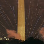 Fireworks light the sky over the US Capitol, left, Washington Monument and Lincoln Memorial in Washington for the Fourth of July. (AP Photo/Alex Brandon)