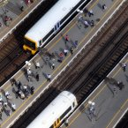 A view of trains and passengers at London Bridge station in London from the 69th floor of The Shard. (Lewis Whyld/PA Wire)