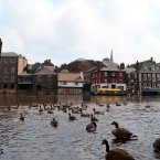 Floodwater covers the streets in the centre of York as River Ouse burst its banks and water levels continue to rise following heavy rainfall. (PA)