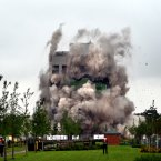The Massey Ferguson Tower in Coventry is demolished in a controlled. (David Jones/PA)
