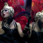 An Indonesian transvestite applies make up as she prepares before performing in a cabaret show in Yogyakarta, Central Java, Indonesia. (AP Photo/Gembong Nusantara)