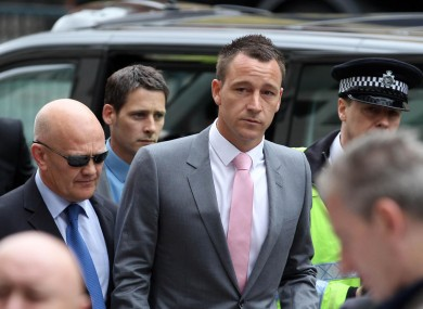 Chelsea skipper John Terry arrives at Westminster Magistrates' Court, London this morning.