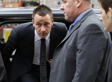 John Terry arrives at Westminster Magistrates Courts in London.